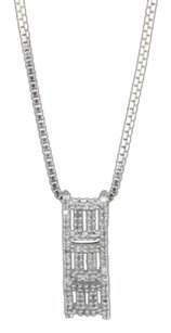 Diamond,Rectangle,Pendant,14k,White,Gold,0.20,Ct,Round,Cut,Charm,With,Chain