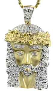 Diamond,Jesus,Face,Pendant,10k,Yellow,Gold,0.24,Ct,Cross,Charm,With,Chain