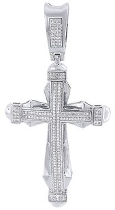 Genuine,Diamond,Cross,Pendant,Mens,10k,White,Gold,Round,Cut,Pave,Charm,0.50,Ct.