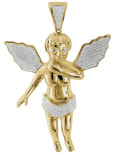 Diamond,Mini,3d,Angel,Piece,Cherub,Pendant,10k,Yellow,Gold,2.55,Charm,0.70,Ct.