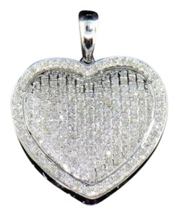 Diamond,Heart,Love,Pendant,10k,White,Gold,Charm,Pave,Set,1.10,Ct.,With,Chain