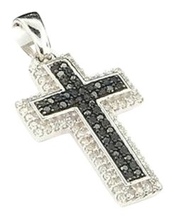 Ladies,10k,White,Gold,Black,Diamond,Jesus,Cross,Pendant,Charm,For,Necklace,14ct