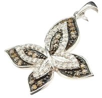 Ladies,34,Ct.,White,Gold,Finish,Brown,Champagne,Diamond,Butterfly,Pendant,Charm