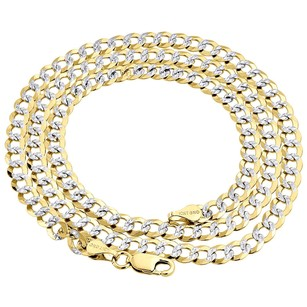 Real 10k Yellow Gold 4.5mm Solid Diamond Cut Cuban Link Chain Necklace 16-30