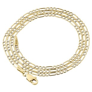 Jewelry For Less Real 10k Yellow Gold Diamond Cut Figaro Style Chain 2mm Necklace 16-24 Inches