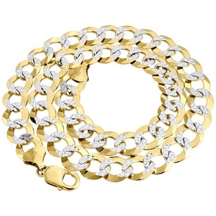 Real 10k Yellow Gold Solid Diamond Cut Mm Cuban Link Chain Necklace 22-34