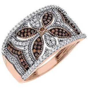 Jewelry For Less Red Diamond Fashion Right Hand Band 10k Rose Gold Designer Cocktail Ring 0.40 Ct