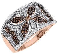 Other Red Diamond Fashion Right Hand Band 10k Rose Gold Designer Cocktail Ring 0.40 Ct