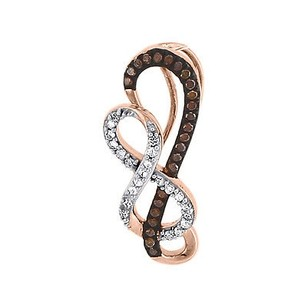 Other Red Diamond Infinity Pendant 10k Rose Gold Charm With Chain Necklace 0.15 Ct