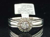 Halo Diamond Bridal Set 14k White Gold Round Solitaire Engagement Ring 0.33 Ct.