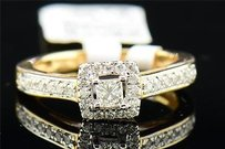 Princess Diamond Solitaire Engagement Ring 14k Yellow Gold Square Halo 0.49 Tcw.