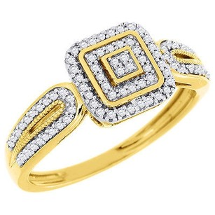 Diamond Cluster Engagement Wedding Ring 10k Yellow Gold Pave Square Head 0.20 Ct