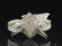 Diamond Square Engagement Ring 10k White Gold Pave Round Cut 0.25 Ct
