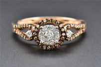 Solitaire Diamond Engagement Ring Round Cut 14k Rose Gold Brown Halo 0.45 Ct