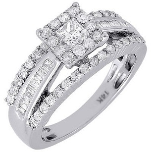 Diamond Wedding Ring 14k White Gold Solitaire Princess Engagement Halo 1.05 Tcw.