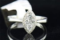 Diamond Engagement Ring 14k White Gold Marquise Shaped Round Cut 0.47 Ct