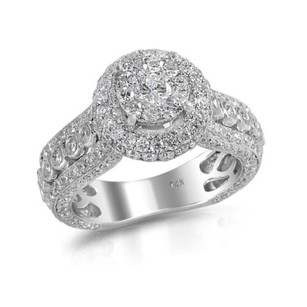 Diamond Engagement Ring Antique Halo Set Ladies 14k White Gold 2.92 Ct.