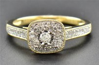 Solitaire Diamond Engagement Ring 14k Yellow Gold Round Cut Halo Design 0.30 Ct