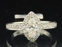 Marquise Solitaire Diamond Engagement Ring 14k White Gold Round Cut 1 Ct