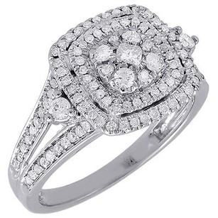 Diamond Square Engagement Ladies 14k White Gold Round Pave Wedding Ring .63 Ct.
