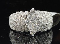 Diamond Engagement Ring 14k White Gold Cluster Marquise Stye Round Cut 2 Ct