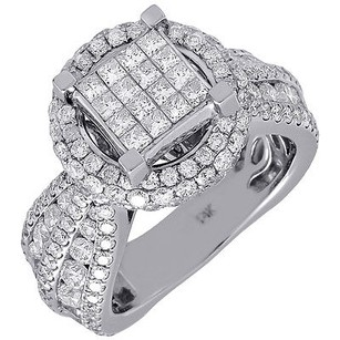 Diamond Wedding Engagement Bridal Ring 14k White Gold Wide Euro Band 4.07 Ctw.