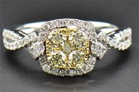 Yellow Diamond Engagement Ring 14k White Gold Round Cut Square Halo 1.01 Ct