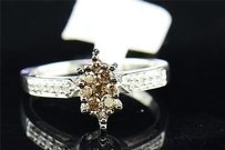 Brown Diamond Engagement Ring 10k White Gold Round Cut Marquise Shape 0.40 Ct