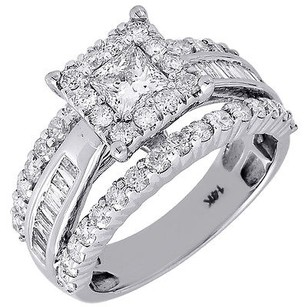 Diamond Wedding Engagement Ring Ladies 14k White Gold Solitaire Princess 1.99 Ct