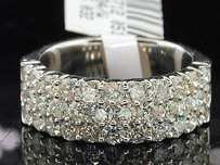 Ladies 14k White Gold 3 Row Diamond Engagement Ring Wedding Band Bridal 2.00 Ct.