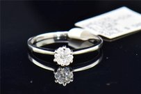 Diamond Flower Engagement Ring 10k White Gold Cluster Round Cut 0.12 Ct