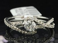 Solitaire Diamond Engagement Ring 14k White Gold Round Cut 1.15 Ct Swirl Design