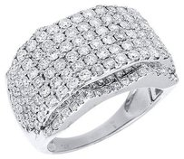 Diamond Statement Pinky Ring 14k White Gold Round Cut 4.03 Ct Mens Band