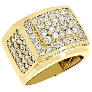 Diamond Pinky Ring Mens Round Cut 14k Yellow Gold Wedding Band 3.10 Ct. 17mm