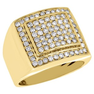 10k Yellow Gold Genuine Diamond Pinky Ring Mens Square Tier Domed Band 1.25 Ct