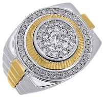 Diamond,Fashion,Pinky,Ring,Mens,10k,Two,Tone,Gold,Fluted,Bezel,Round,Cut,0.77,Ct