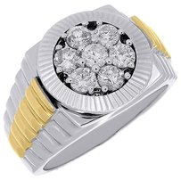 Diamond,Fashion,Pinky,Ring,Mens,10k,Two,Tone,Gold,Fluted,Bezel,Round,Cut,1.10,Ct