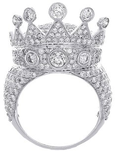Crown,Diamond,Pave,Designer,Statement,Pinky,Ring,Mens,10k,White,Gold,7.11,Ct.