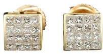 Diamond,Stud,Earrings,Mens,14k,Yellow,Gold,Square,Princess,Cut,0.61,Tcw.