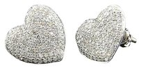 Heart,Shape,Diamond,Studs,Domed,Ladies,10k,White,Gold,Pave,Earrings,0.77,Ct.