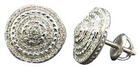 Diamond,3d,Earrings,.925,Sterling,Silver,White,Finish,Pave,Circle,Studs,0.50,Ct.