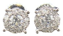 Diamond,Stud,Earrings,Mens,Ladies,14k,White,Gold,Round,Cut,6mm,Solitaire,.53,Ct