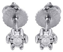 Diamond,Solitaire,Earrings,10k,White,Gold,Round,Mens,Ladies,Studs,0.05,Ct.