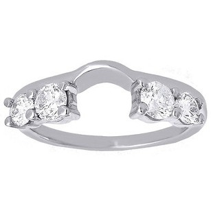 Diamond Enhancer Wrap Solitaire Engagement Wedding Ring 14k White Gold 0.76 Ct