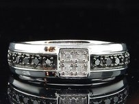 Mens 10k White Gold Black White Diamond Engagement Ring Prong Set Wedding Band