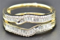 Diamond Enhancer Wrap Solitaire Engagement Ring Baguette 14k Yellow Gold 0.46 Ct