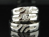 10k Mens Ladies White Gold Diamond Engagement Ring Wedding Band Trio Bridal Set