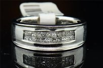 Princess Cut Diamond Wedding Band 14k White Gold Engagement Ring .60 Ct.