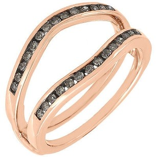 Brown Diamond Solitaire Engagement Enhancer 14k Rose Gold Wrap Ring 0.24 Tcw.