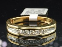 Mens 14k Yellow Gold Round Cut Channel Set Diamond Ring Engagement Wedding Band